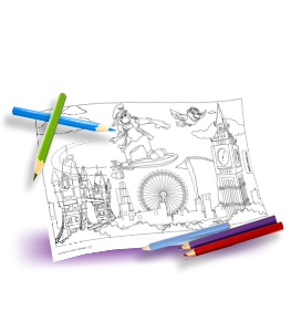Bright crayons and a London colouring template with Bernie and Lexi