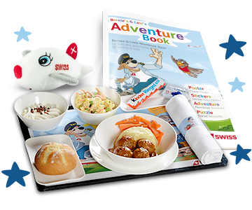 Various SWISS Kids products that are distributed on board