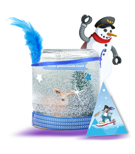 A crafted snow globe in a jar
