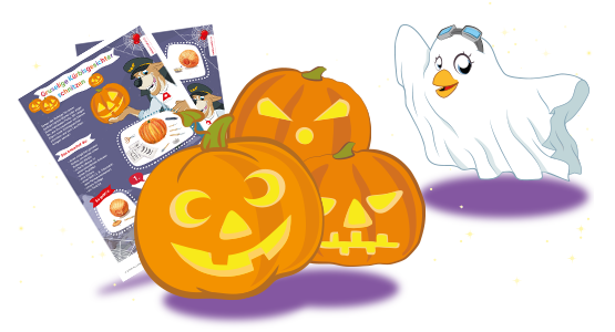 Lexi, disguised as a ghost, shows some carved pumpkins and the handicraft instructions for them
