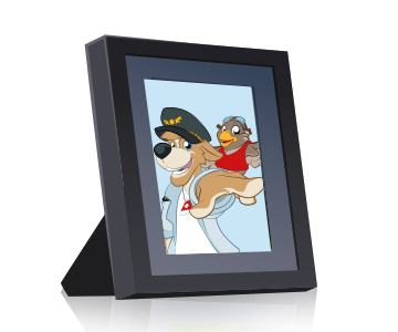 A picture frame with a photo of Bernie and Lexi