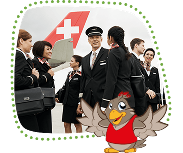 Lexi shows a SWISS crew with pilots and flight attendants