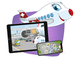 Swissli and the SWISS Kids App on a tablet and a smartphone