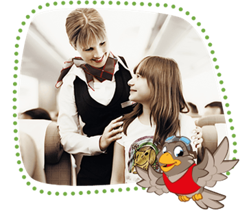 Lexi shows an unaccompanied girl being looked after by a SWISS flight attendant on an aircraft