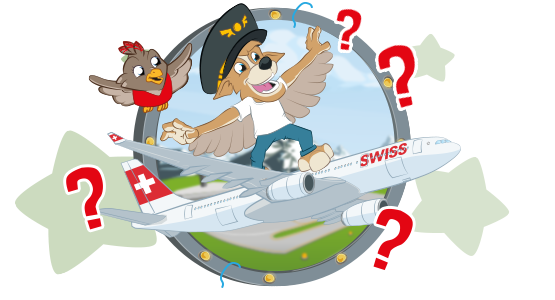 Bernie and Lexi as children in front of a SWISS aircraft