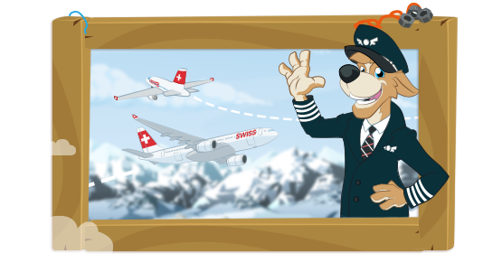 Bernie as pilot in front of several SWISS aircraft