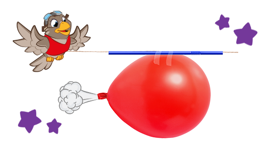 A balloon rocket demonstrates the principle of backward thrust