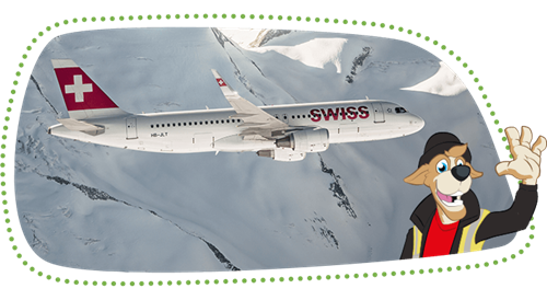 A waving Bernie, in the background a white SWISS aircraft in front of a snow-covered mountain