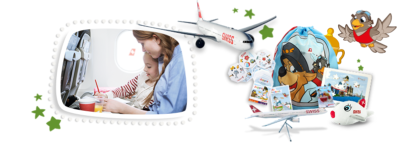 The prizes in the SWISS Kids Adventure Prize Draw: a flight for one family and great SWISS Kids surprise packages